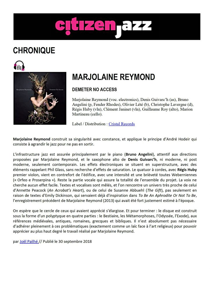 Citizen jazz - Marjolaine Reymond - Demeter No Access